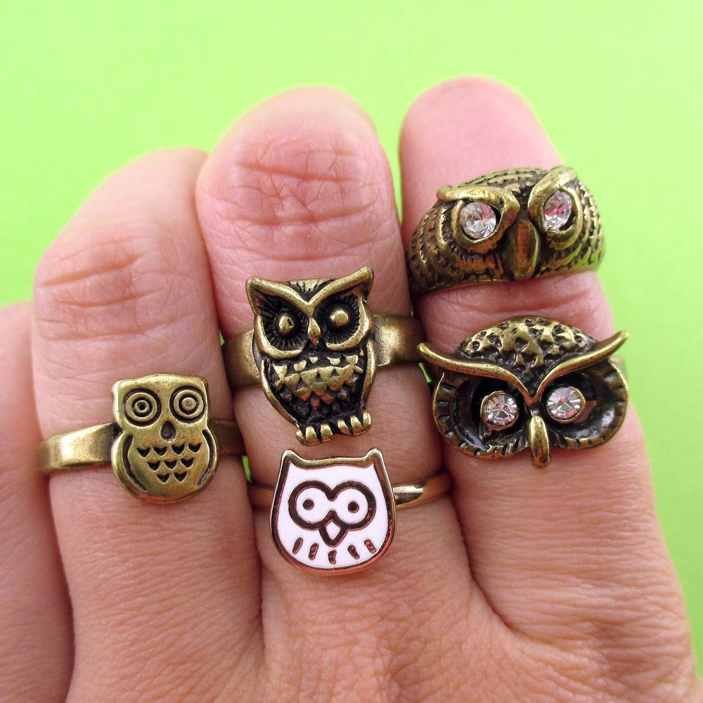 owl-themed-5-piece-animal-ring-set-in-brass