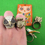 Owl Inspired Rings and Hand Drawn Pendant Necklace 5 Piece Set | Size 6