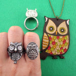 Owl Shaped Rings and Hand Drawn Owl Necklace 4 Piece Set | DOTOLY