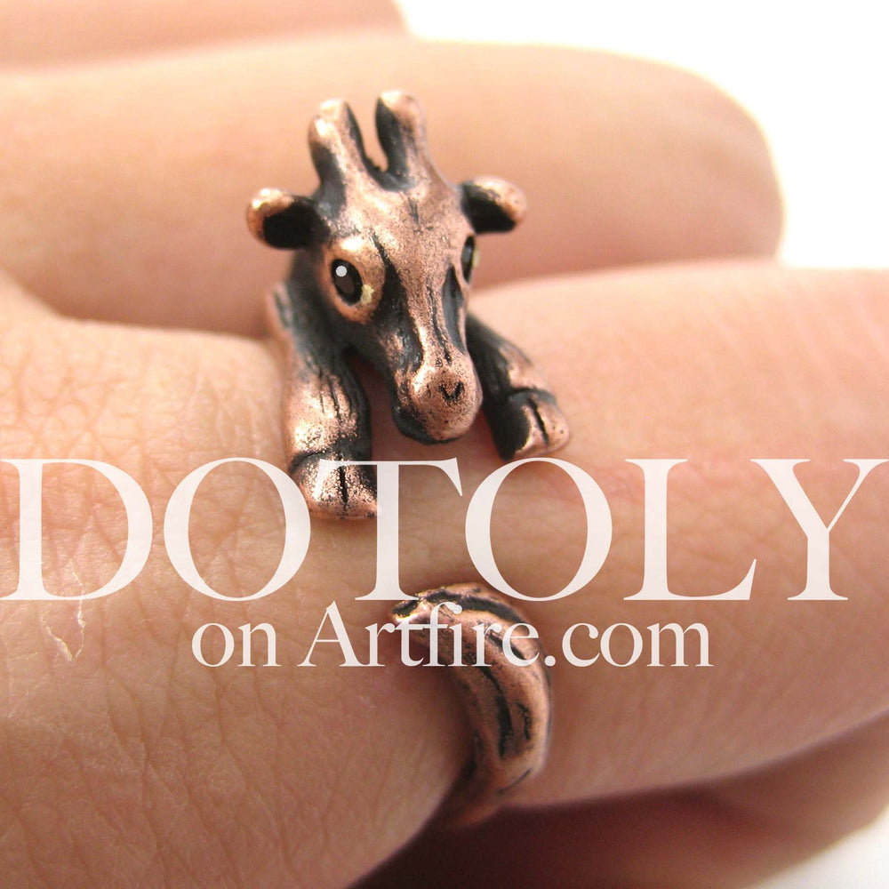 Baby Giraffe Animal Wrap Around Ring in Copper - Sizes 4 to 9 Available | DOTOLY