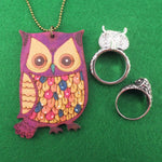 Owl Shaped Rings and Hand Drawn Owl Necklace 3 Piece Set | Size 9