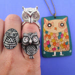 Owl Inspired Rings and Hand Drawn Owl Necklace 3 Piece Set | Size 6 and 7