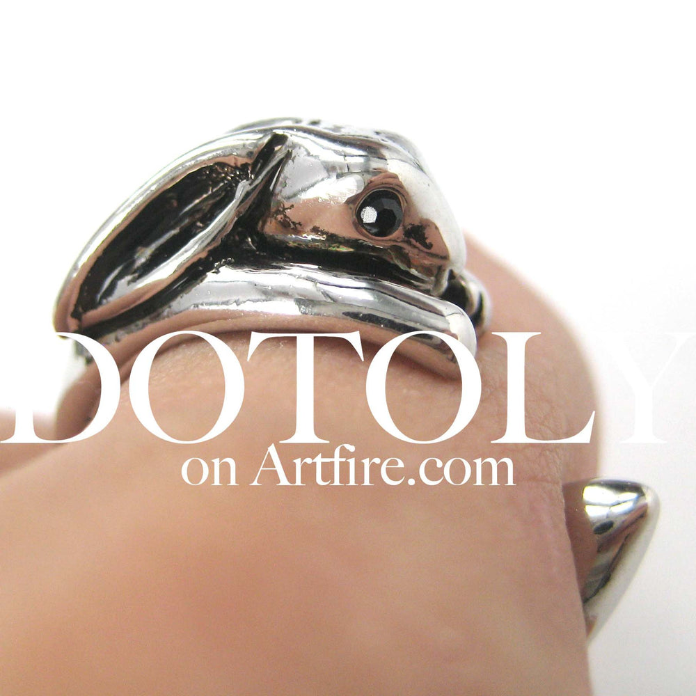 Bunny Rabbit Animal Wrap Around Ring in Shiny Silver - Sizes 4 to 9 Available | DOTOLY