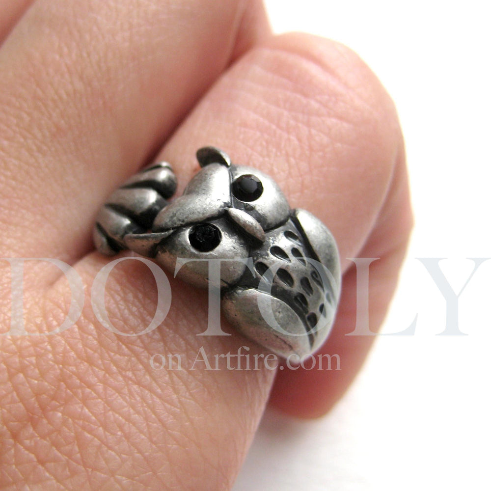 Owl Bird Animal Wrap Around Ring in Silver - Sizes 4 to 8.5 Available | DOTOLY