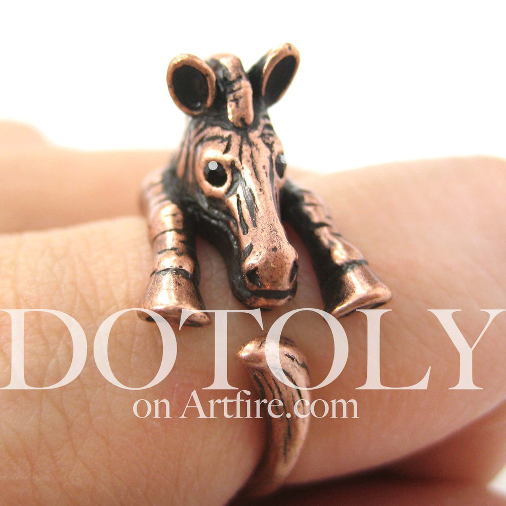 Zebra Horse Animal Wrap Around Ring in Copper - Sizes 4 to 9 Available | DOTOLY