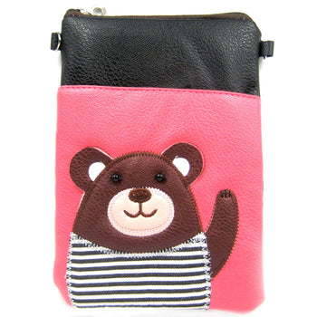 Adorable Teddy Bear Small Cross Body Shoulder Bag Purse in Black and Pink | DOTOLY