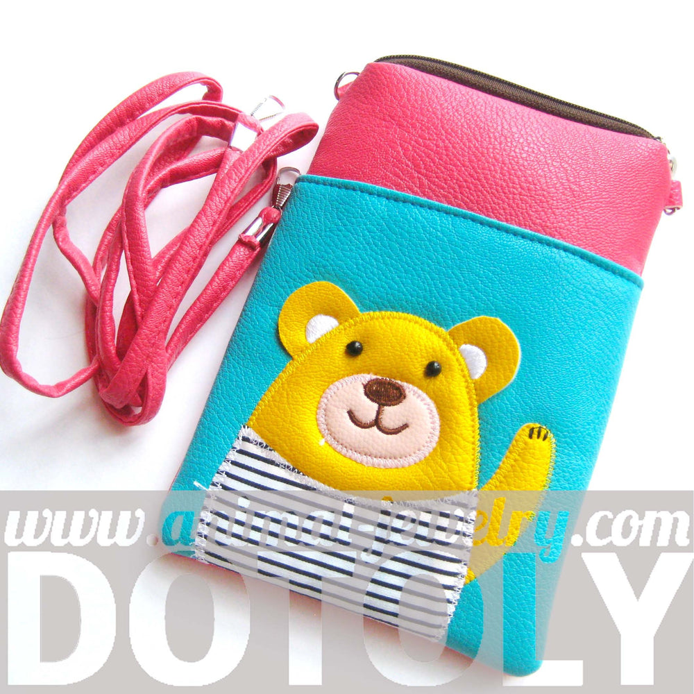 Adorable Teddy Bear Small Cross Body Shoulder Bag Purse in Blue and Pink | DOTOLY