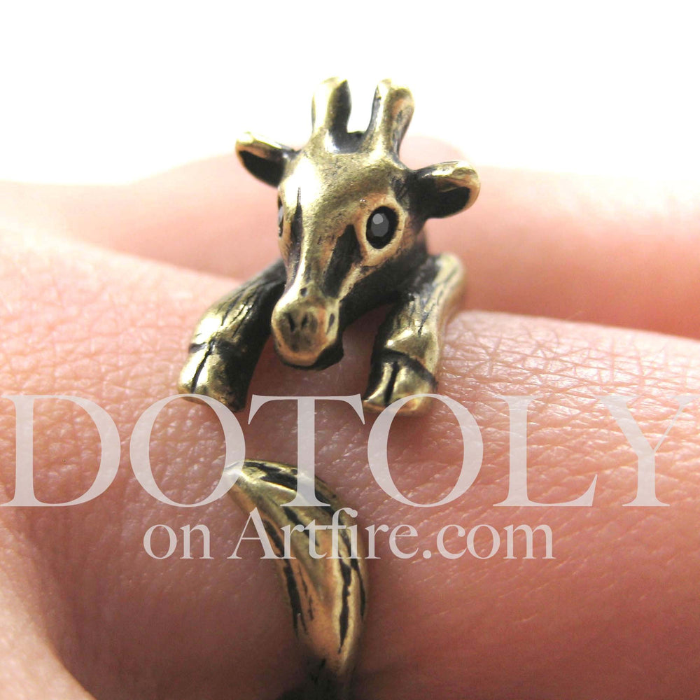 Baby Giraffe Animal Wrap Around Ring in Brass - Sizes 4 to 9 Available | DOTOLY