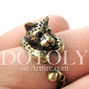 Leopard Jaguar Animal Wrap Around Ring in Brass - Sizes 4 to 9 Available | DOTOLY