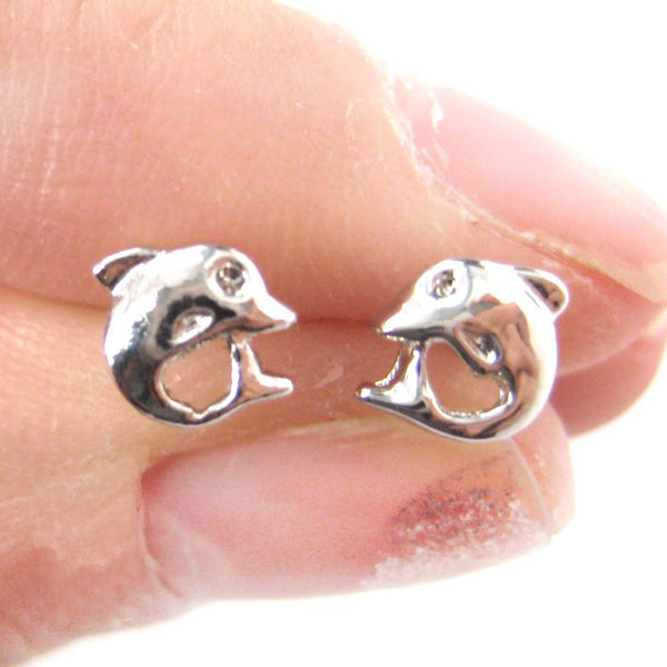 Small Dolphin Fish Sea Animal Stud Earrings in Silver | DOTOLY | DOTOLY