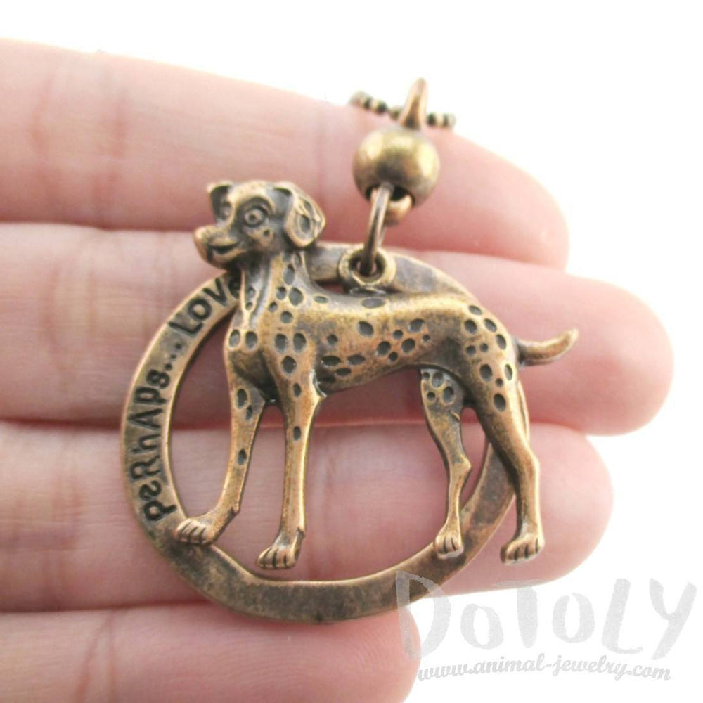 Cute Dalmatian Shaped Pendant Necklace in Brass