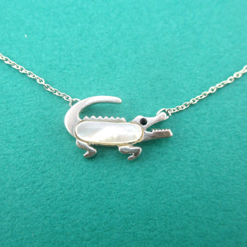 Crocodile Alligator Shaped Pearl Pendant Necklace in Silver | DOTOLY