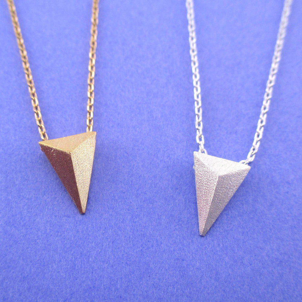 Tiny Minimal Geometric Isosceles Triangle Pendant Necklace