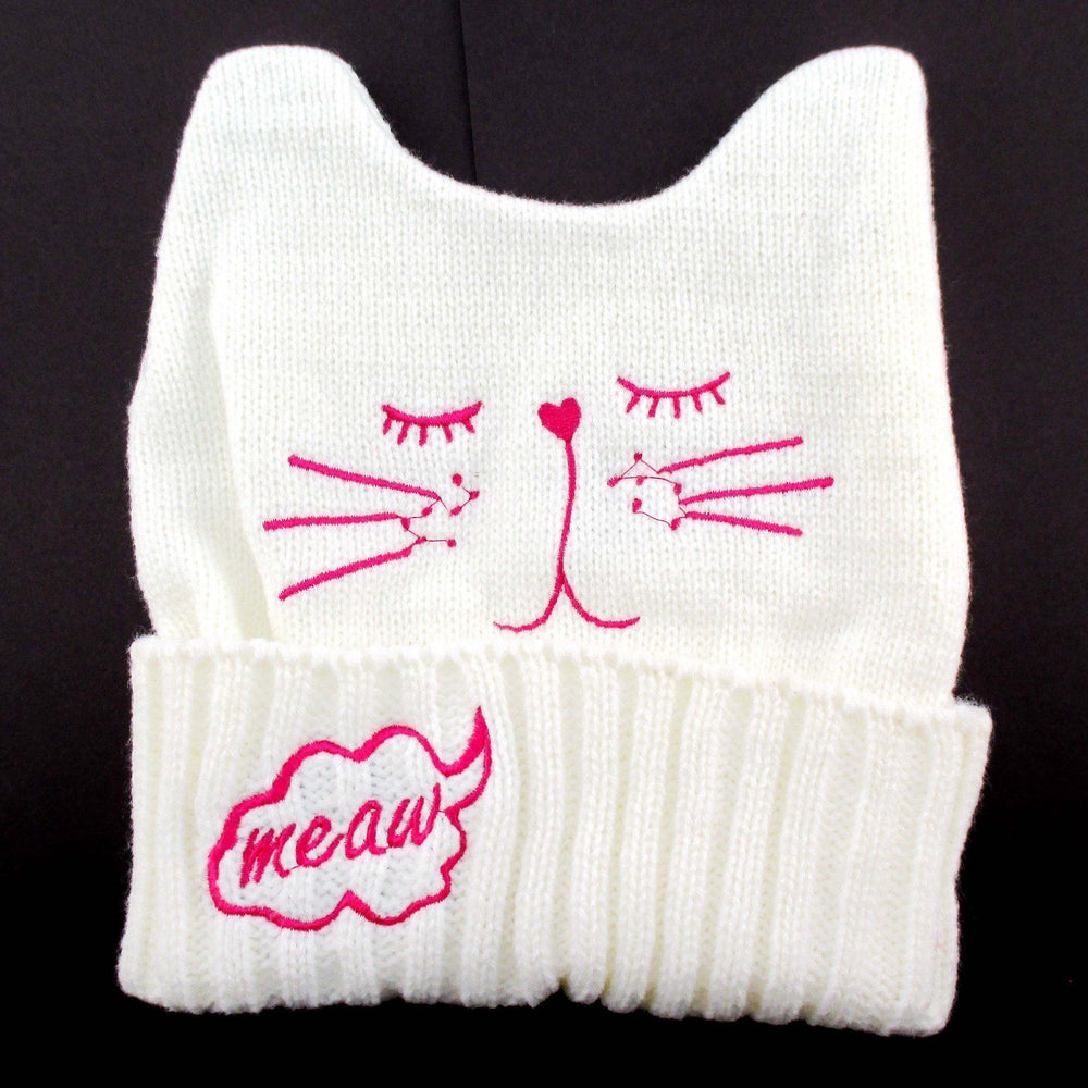 Sleeping Kitty Cat Shaped Animal Themed Knit Beanie in White | DOTOLY