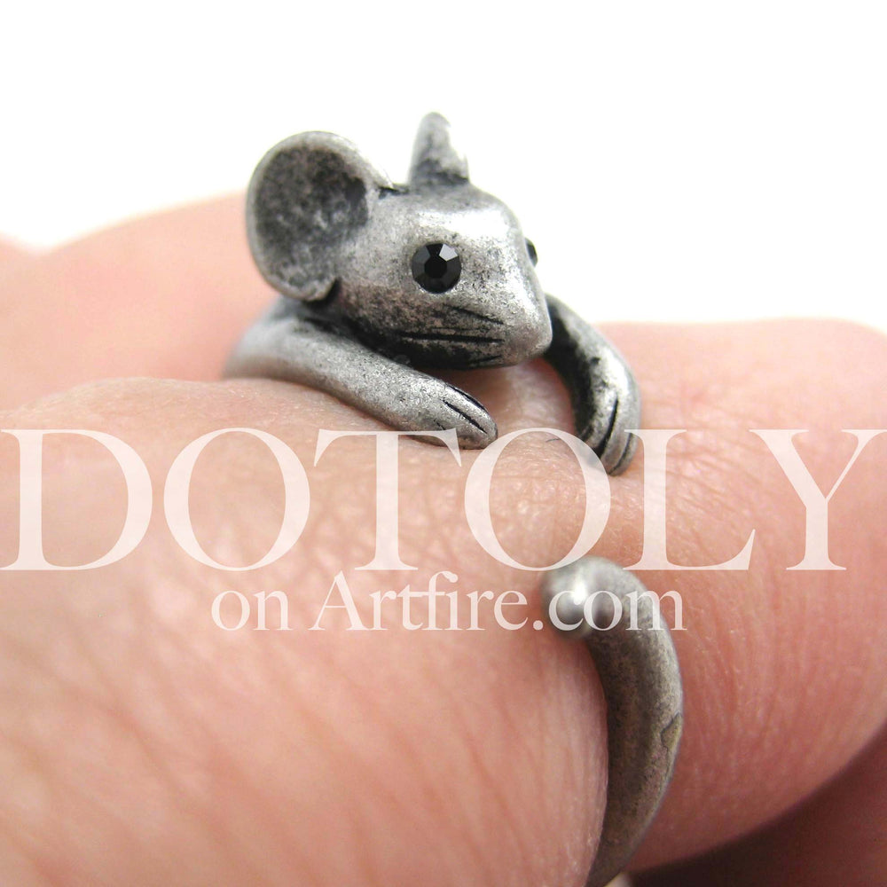 Mouse Animal Wrap Around Ring in Silver - Sizes 4 to 9 Available | DOTOLY