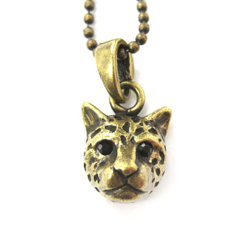 Leopard Cheetah Animal Charm Necklace in Brass | Animal Jewelry | DOTOLY