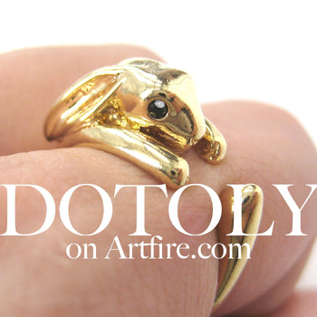 Bunny Rabbit Animal Wrap Around Ring in Shiny Gold - Sizes 4 to 9 Available | DOTOLY
