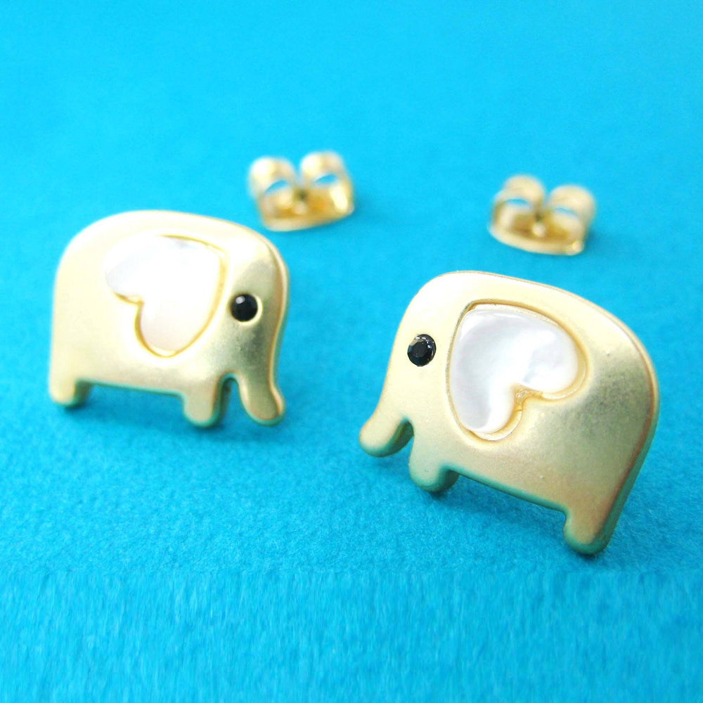 Baby Elephant Shaped Animal Stud Earring in Gold with Heart Shaped Ears | DOTOLY