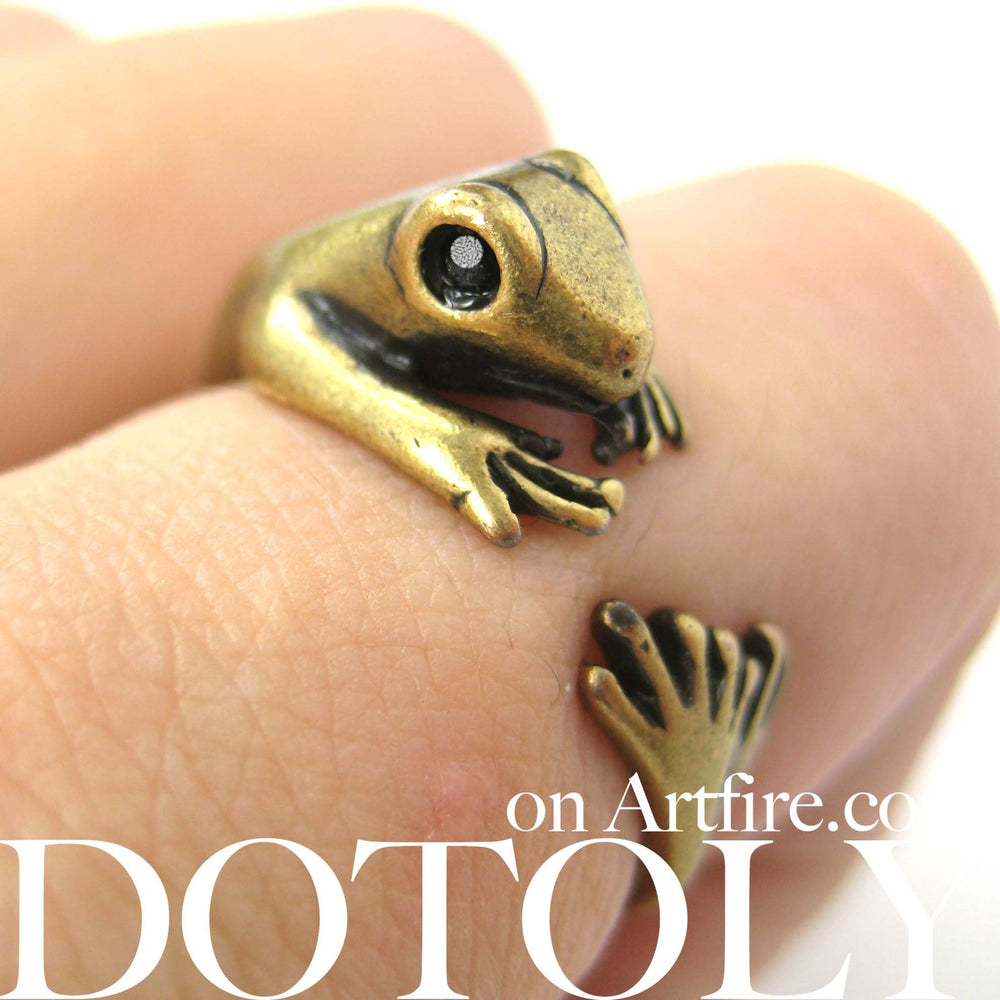 Lizard Gecko Animal Wrap Around Ring in Brass - Size 4 to 9 Available | DOTOLY