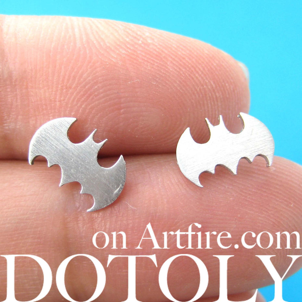 Bat Silhouette Symbol Batman Logo Stud Earrings in Silver | Allergy Free | DOTOLY