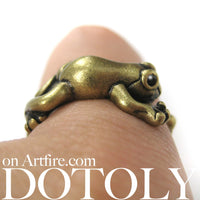 Leap Frog Realistic Animal Ring in Brass - Size 4 to 8.5 Available | DOTOLY