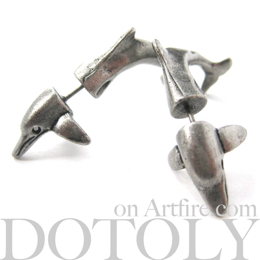 Fake Gauge Earrings: Realistic Dolphin Sea Animal Shaped Plug Stud Earrings in Silver | DOTOLY