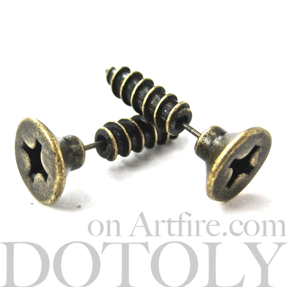 Fake Gauge Earrings: Realistic Screw Shaped Faux Plug Stud Earrings in Brass | DOTOLY