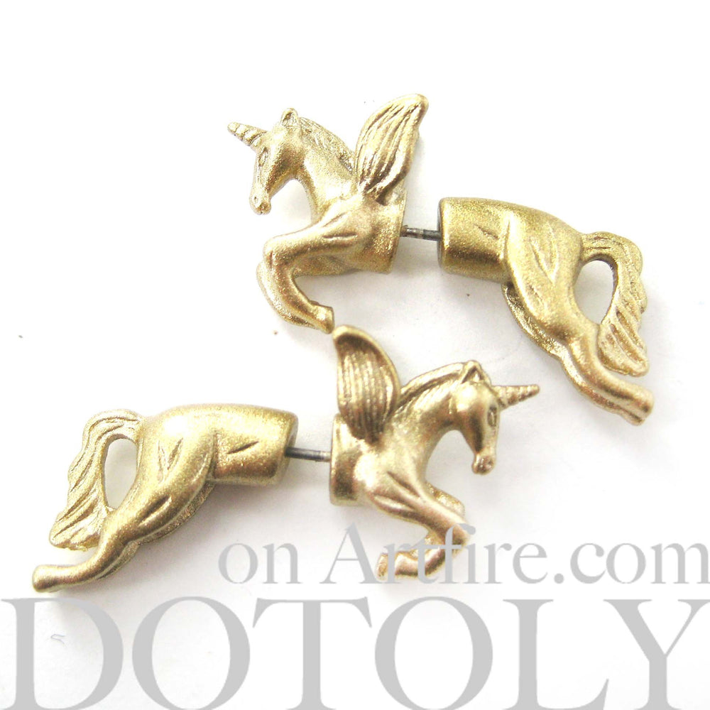 Fake Gauge Earrings: Mythical Unicorn Horse Animal Faux Plug Stud Earrings in Glittery Gold | DOTOLY