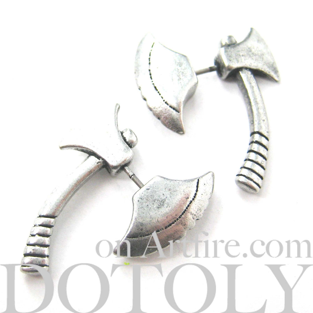 Fake Gauge Earrings: Realistic Axe Shaped Faux Plug Stud Earrings in Silver | DOTOLY