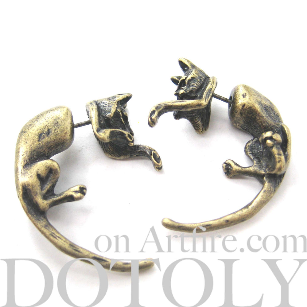 Fake Gauge Earrings: Realistic Kitty Cat Pet Animal Shaped Plug Stud Earrings in Brass | DOTOLY