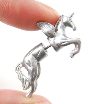 Fake Gauge Earrings: Mythical Unicorn Horse Animal Faux Plug Stud Earrings in Glittery Silver | DOTOLY