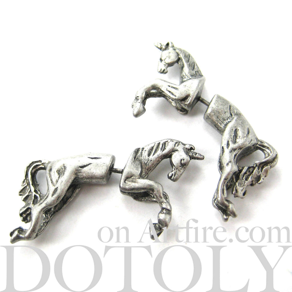 Fake Gauge Earrings: Mythical Unicorn Horse Animal Faux Plug Stud Earrings in Matte Silver | DOTOLY