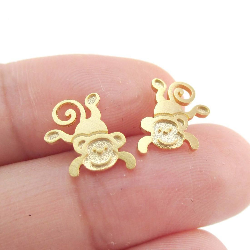 Cute Monkey Chimpanzee Shaped Allergy Free Stud Earrings in Gold