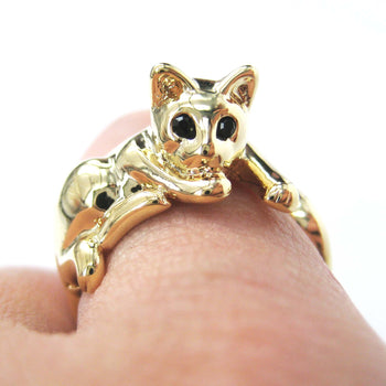 Relaxing Kitty Cat Animal Wrap Around Ring in Shiny Gold - Sizes 4 to 9 Available | DOTOLY