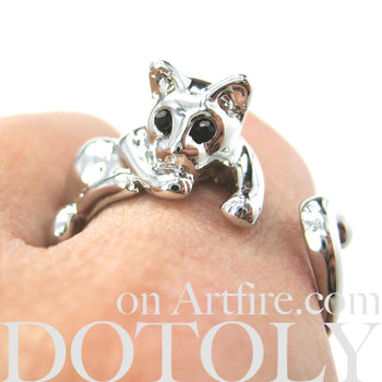 Relaxing Kitty Cat Animal Wrap Around Ring in Shiny Silver - Sizes 4 to 9 Available | DOTOLY