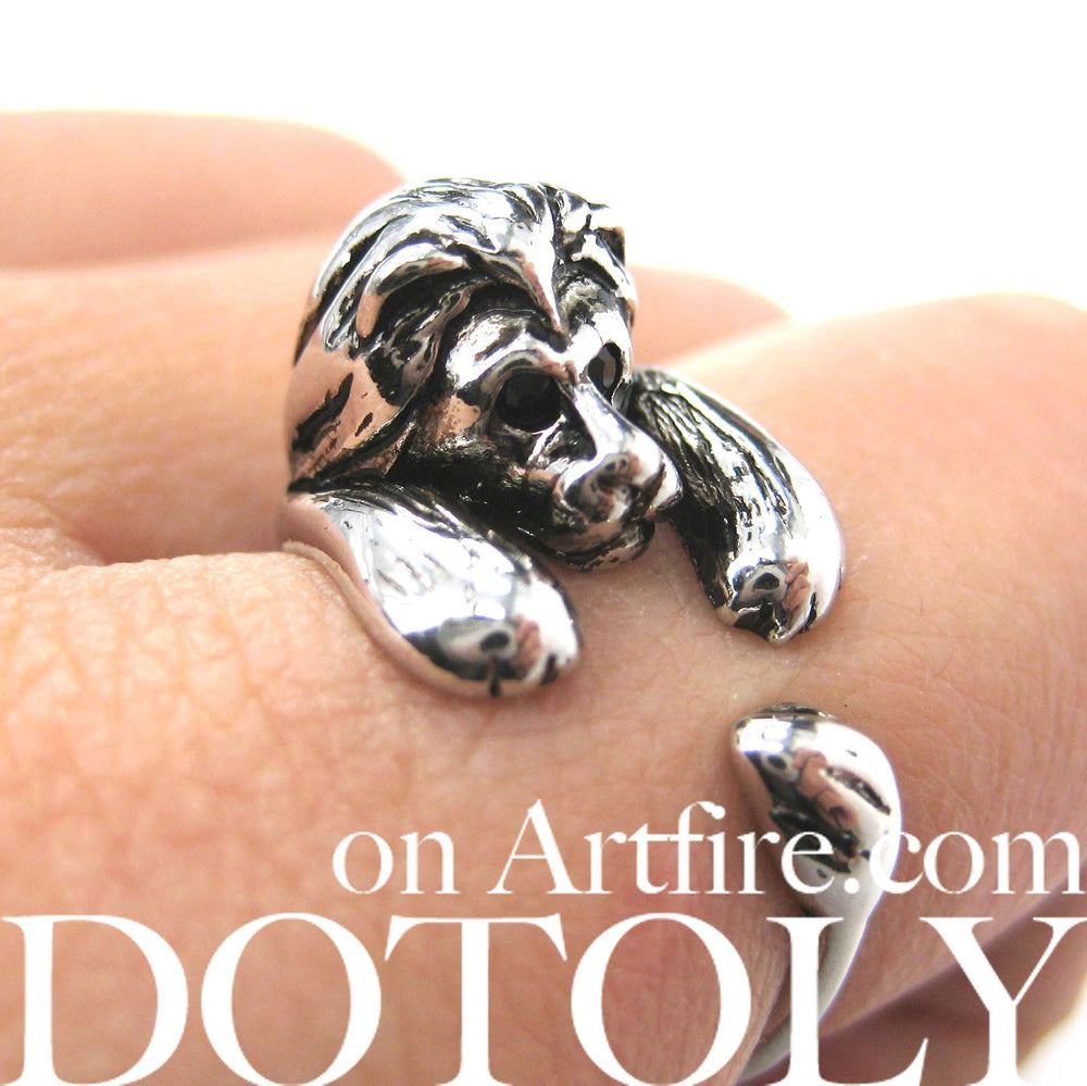 Realistic Lion Animal Wrap Around Ring in Shiny Silver - Sizes 4 to 9 Available | DOTOLY