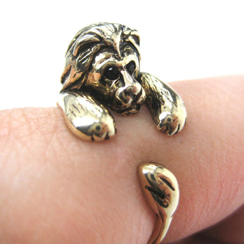 Realistic Lion Animal Wrap Around Ring in Shiny Gold - Sizes 4 to 9 Available | DOTOLY