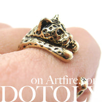 Leopard Jaguar Animal Wrap Around Ring in Shiny Gold - Sizes 4 to 9 Available | DOTOLY