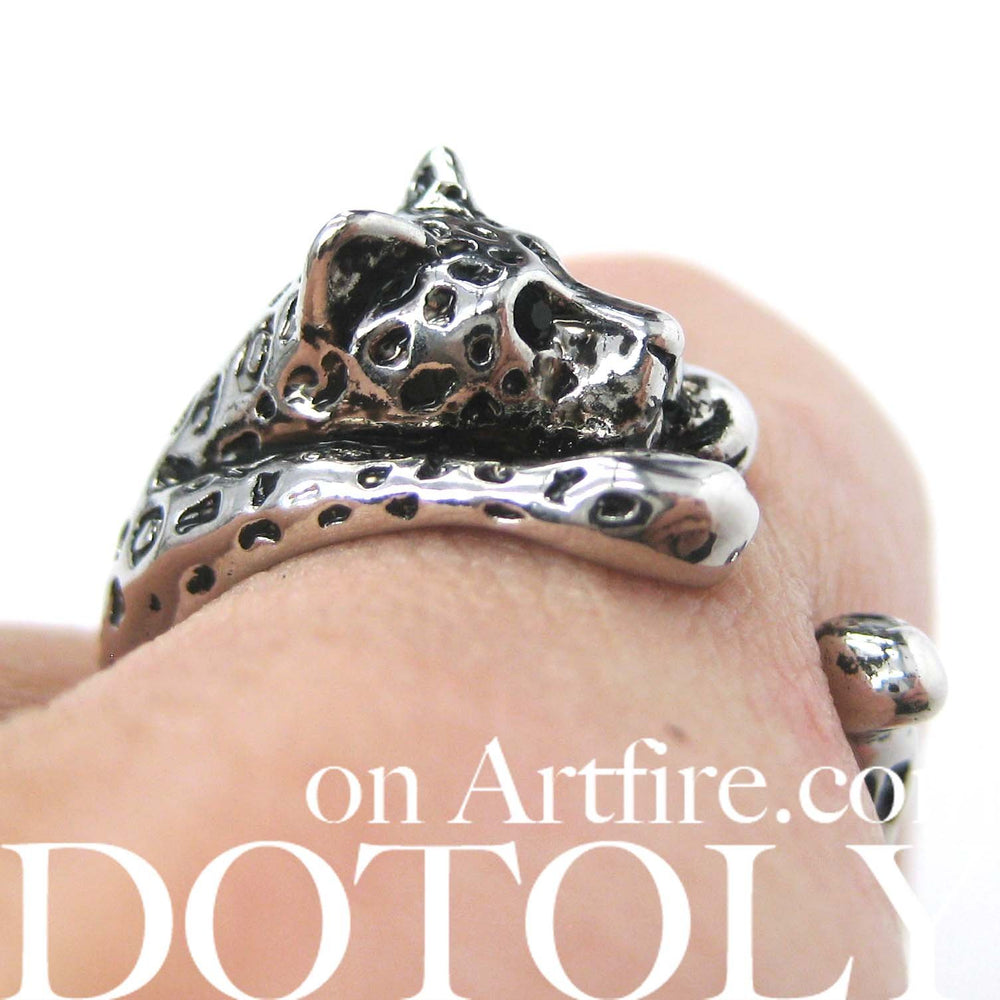 Leopard Jaguar Animal Wrap Around Ring in Shiny Silver - Sizes 4 to 9 Available | DOTOLY