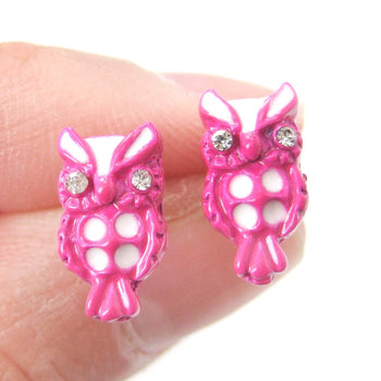 Owl Bird Shaped Stud Earrings in Pink and White | Animal Jewelry | DOTOLY