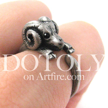 Sheep Ram Animal Wrap Around Ring in Silver - Sizes 4 to 9 Available | DOTOLY