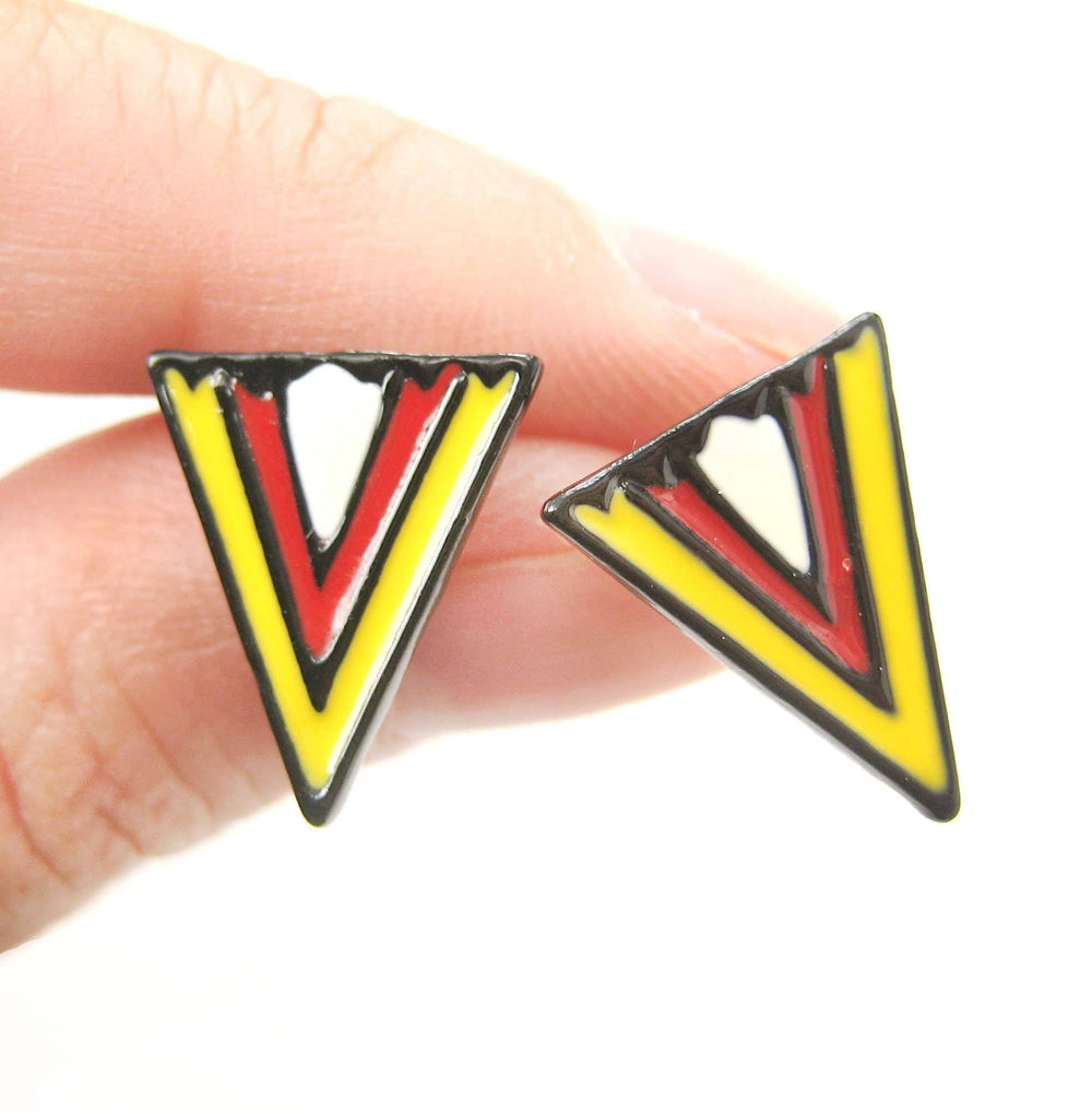 Geometric Arrow Shaped Chevron Print Stud Earrings in Red White and Yellow | DOTOLY