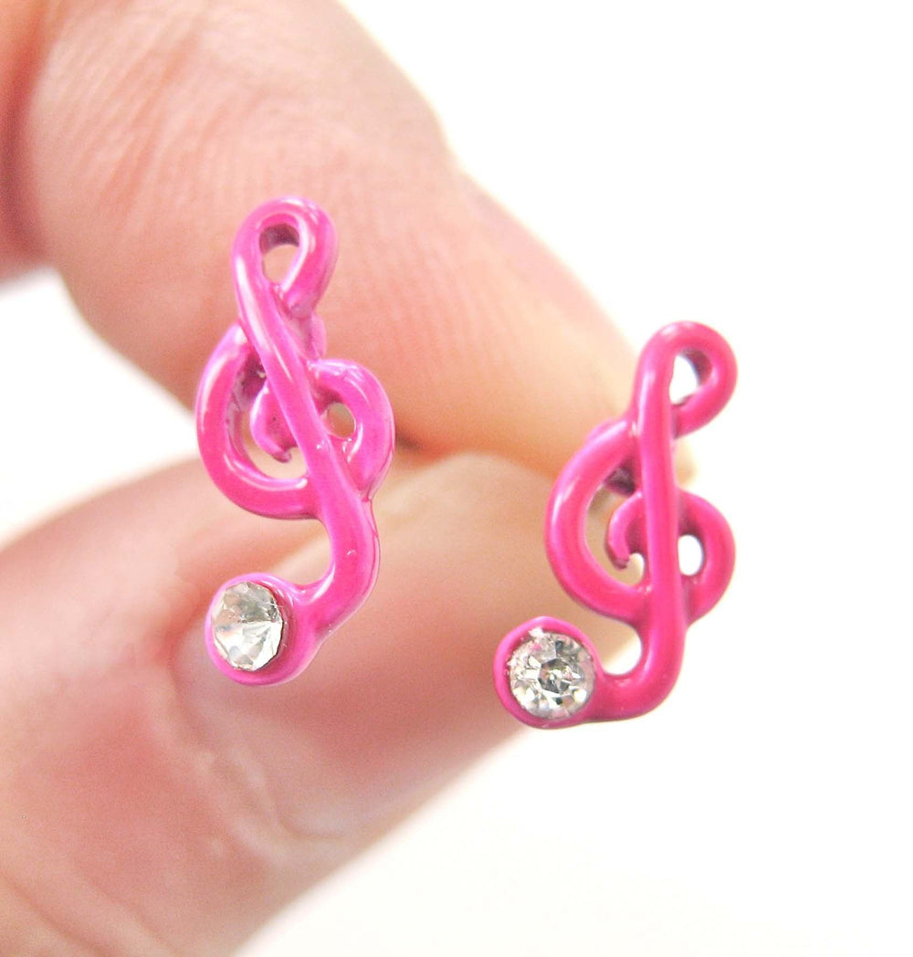 Music Themed Treble Clef Shaped Stud Earrings in Pink | DOTOLY | DOTOLY