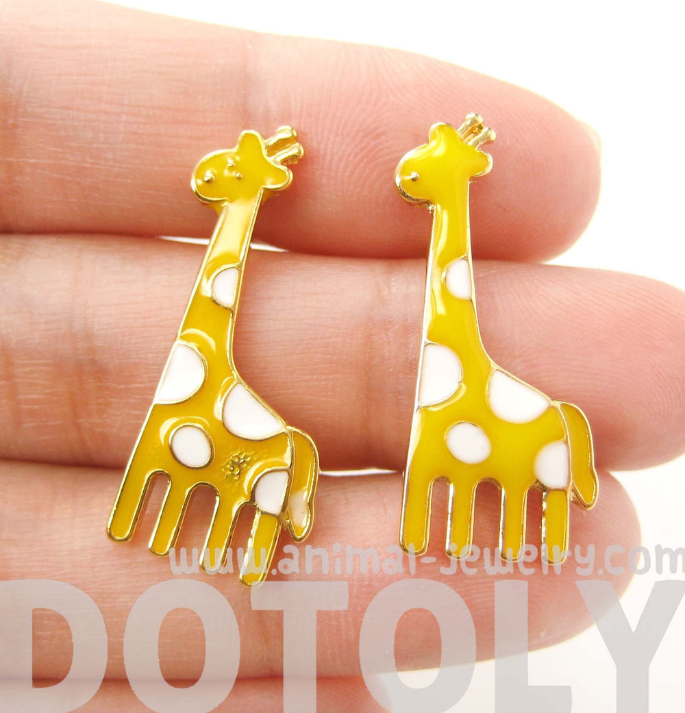 Large Giraffe Shaped Stud Earrings in Yellow with White Polka Dots | DOTOLY
