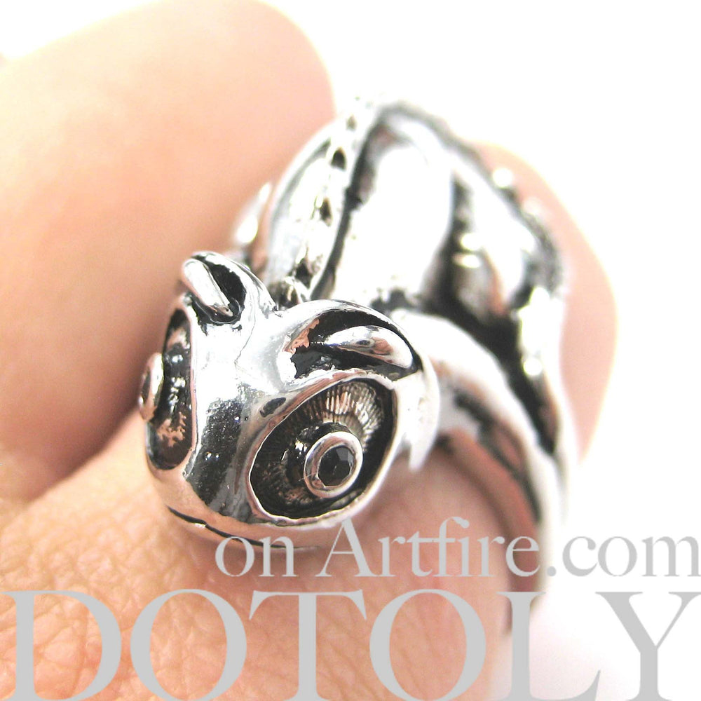 3D Adjustable Iguana Chameleon Animal Wrap Around Hug Ring in Shiny Silver | DOTOLY