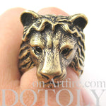 Large Lion Detailed Adjustable Animal Ring in Brass | Animal Jewelry | DOTOLY