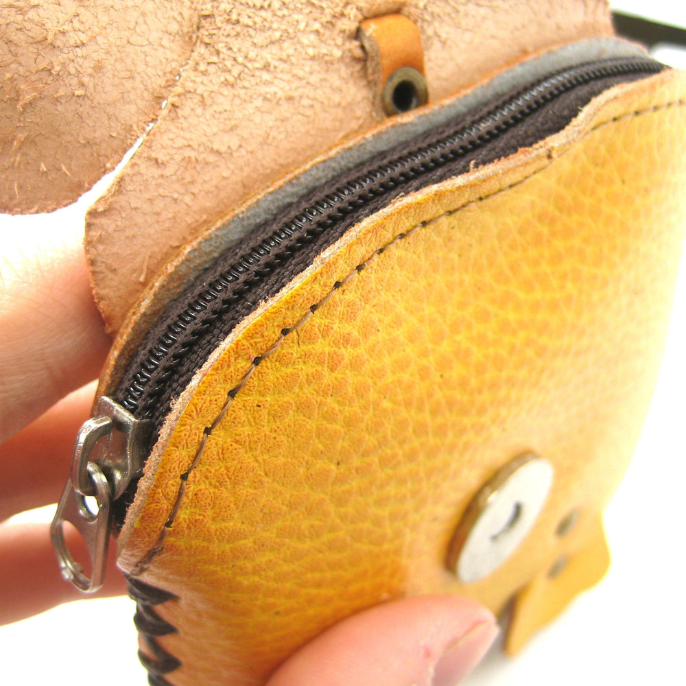 Tiger Animal Shaped Handmade Coin Purse with Wrist Strap and Key Split Ring | DOTOLY