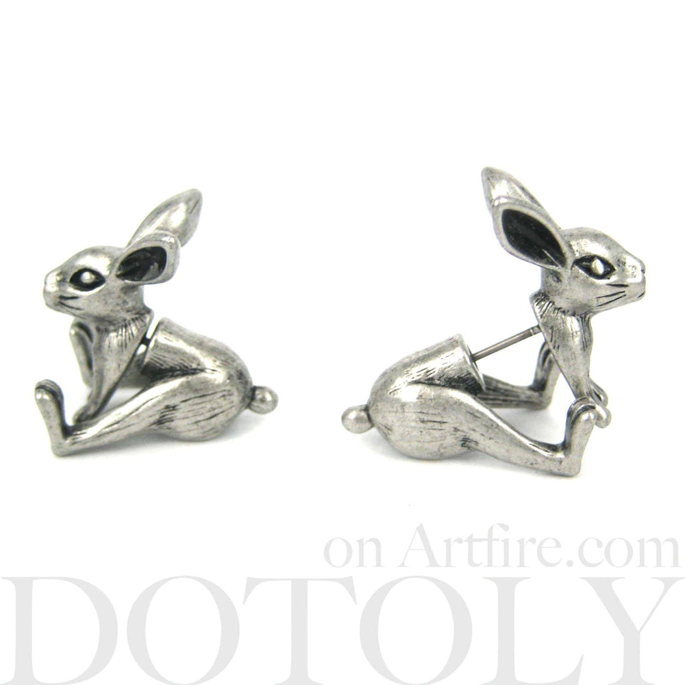 Fake Gauge Earrings: Realistic Bunny Rabbit Animal Shaped Plug Stud Earrings in Silver | DOTOLY