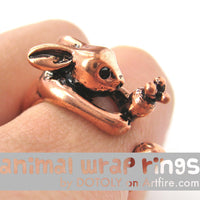 Bunny Rabbit Animal Wrap Ring with Carrot in SHINY Copper - Sizes 4 to 9 Available | DOTOLY