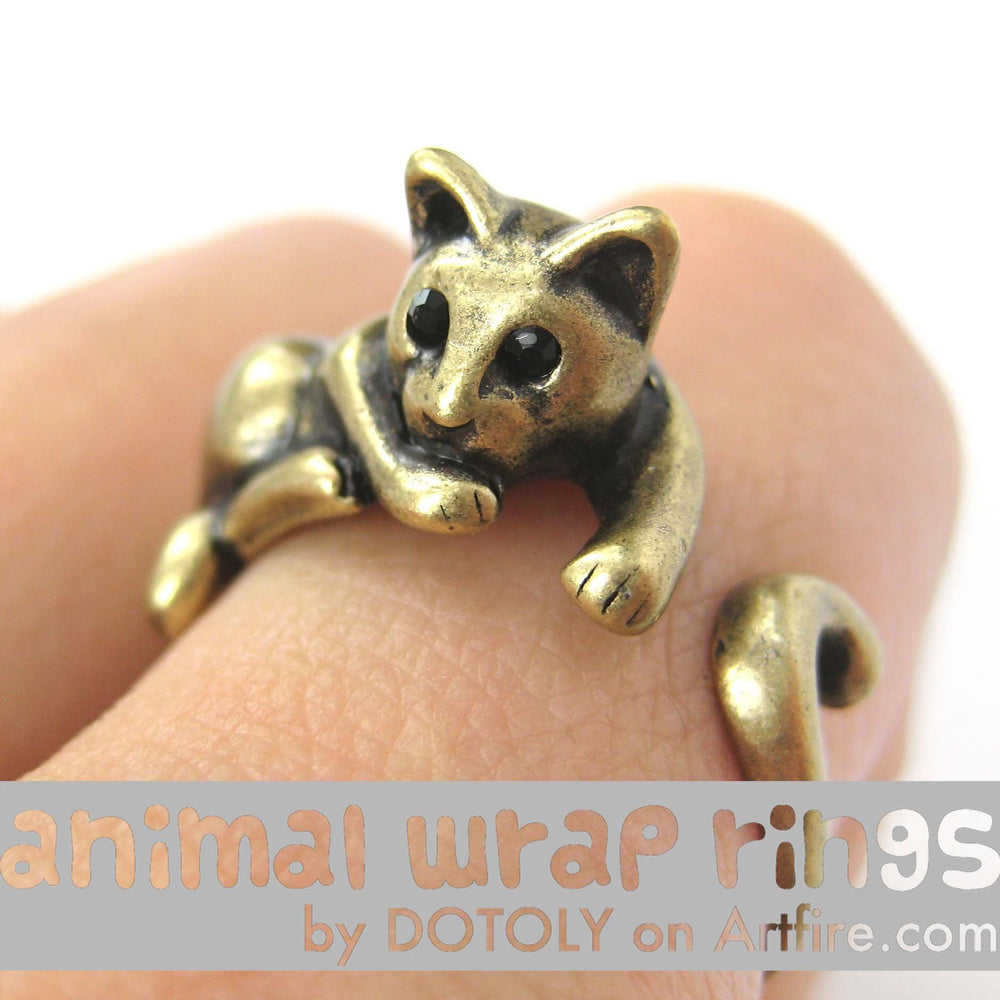Kitty Cat Relaxing Animal Wrap Around Ring in Brass - Sizes 4 to 9 Available | DOTOLY